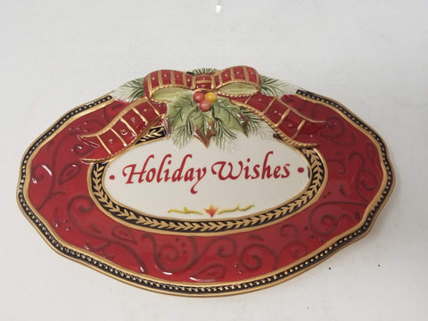 "Fitz and Floyd ""Holiday Wishes"" Damask Holiday Sentiment Tray 10"