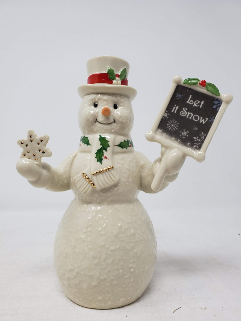 "Lenox - Let It Snow Snowman Figurine 7"" Retired Rare 877377 AP28"