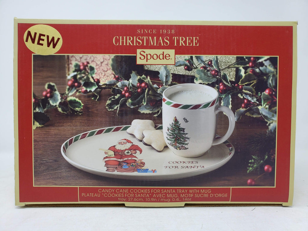 Spode Christmas Tree Candy Cane Cookies and Milk for Santa Tray with Mug ap28