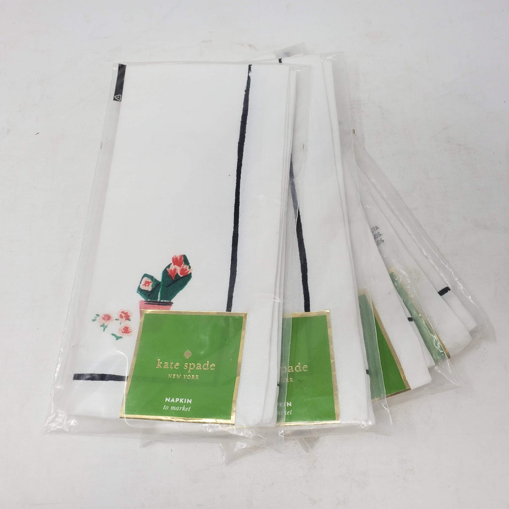 KATE SPADE TO MARKET FLORAL NAPKIN SET OF 4 MARKET FLOWERS WHITE MULTI COLOR NEW