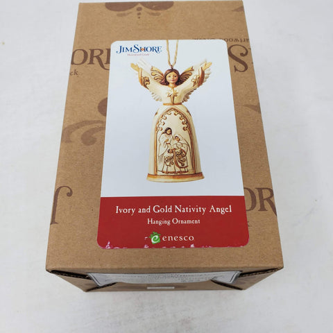 Jim Shore Ivory and Gold Nativity Angel Ornament 2017