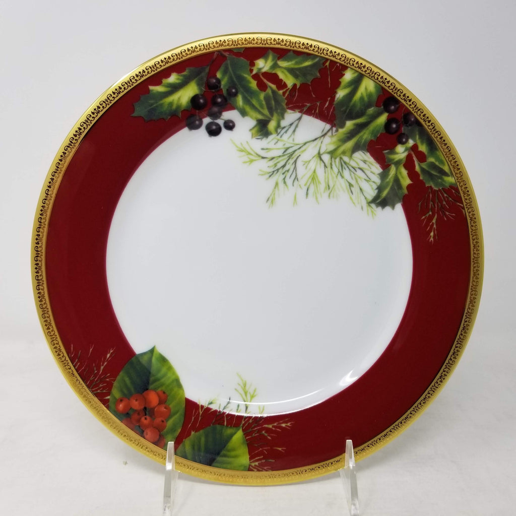 Charter Club Red Rim Accent Plate) With Lenox Table Linens, Holiday Nouveau Roun