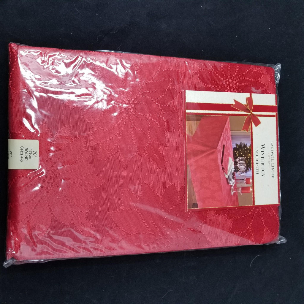 Bardwil Winter Joy Red Tablecloth Christmas Holiday Linens