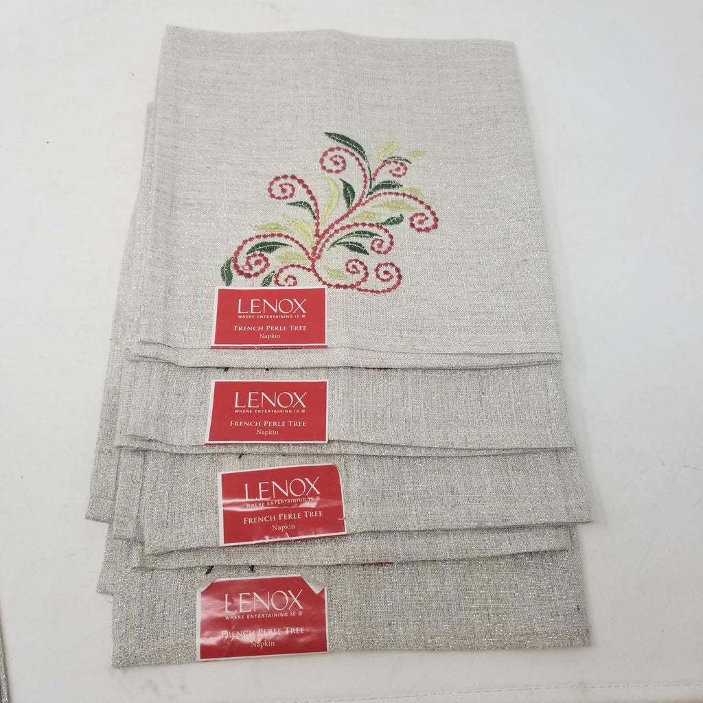LENOX Linens French Perle Tree Embroidered Cloth Napkin Set of 4 B34