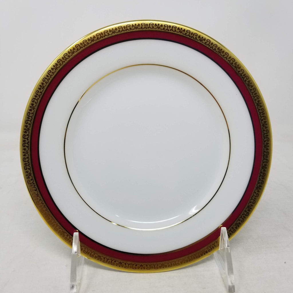 Charter Club China Dinnerware Red GOLD Rim Appetizer Plate set of 4 b38