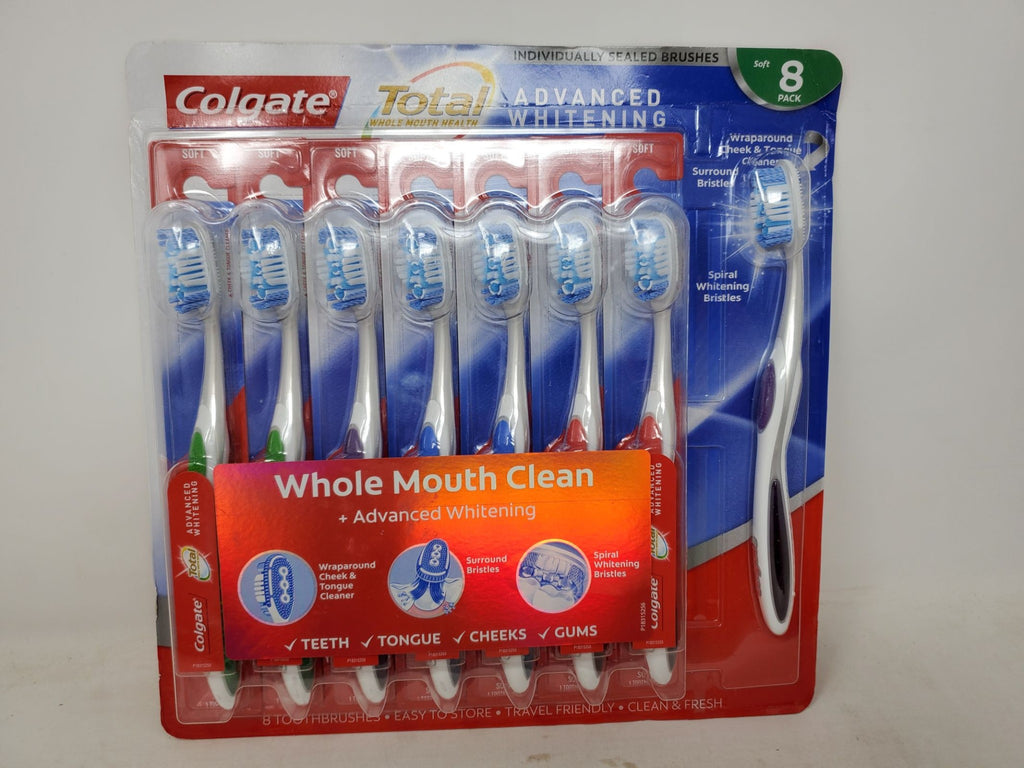 Colgate 8 pack soft toothbrushes individually sealed advanced whitening new ap5