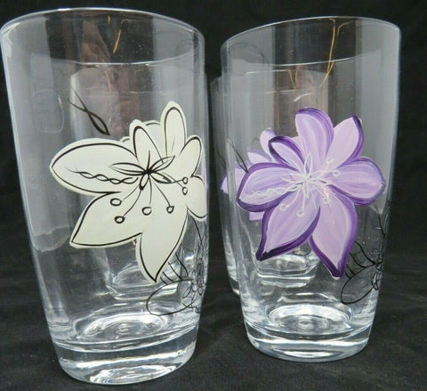 Set of 4 Art Land Laurie Gates ANNA PLUM Highball Glass New AP25