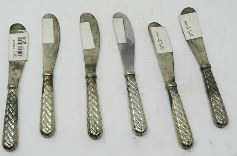Silver-plated Set of 6 Godinger Woven Butter Spreaders AP15