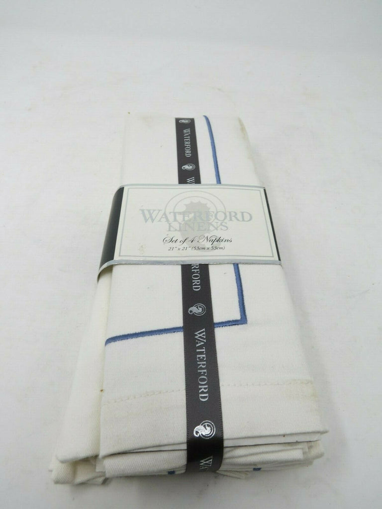 Waterford Linens Classic Cotton Napkins White with Blue Stitching Set of 4  AP24