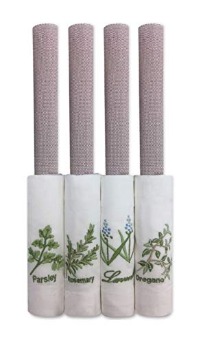 Leila's Linens Lavender Herb Embroidered 8 Pieces, Place mat and Napkin Set for 4