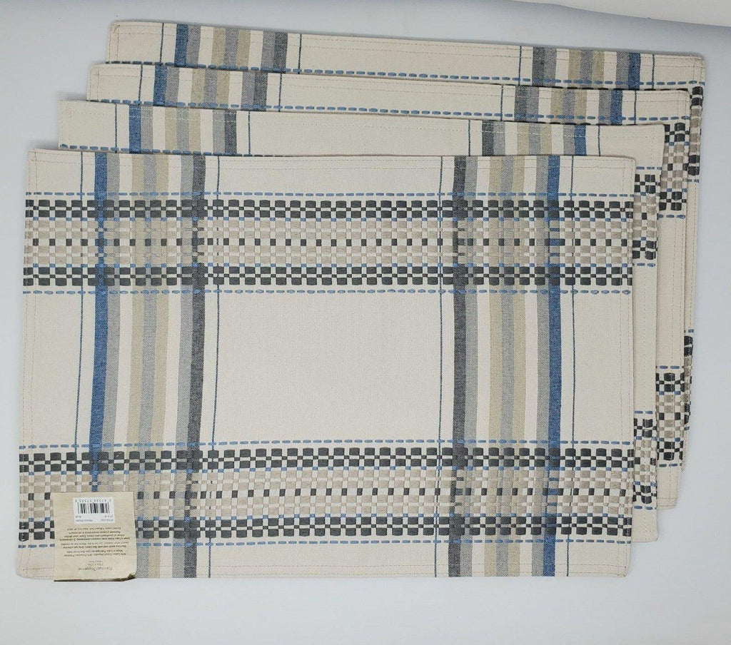 Set of 4 placemats 19×13 brown blue
