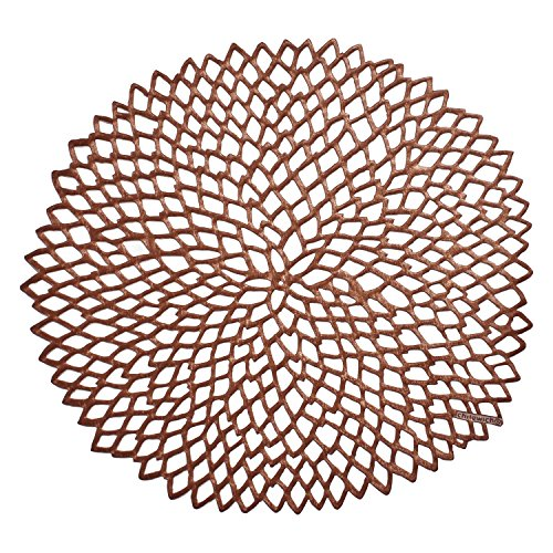 Chilewich Dahlia Pressed Vinyl Round Placemat Rose Gold 15 by Chilewich