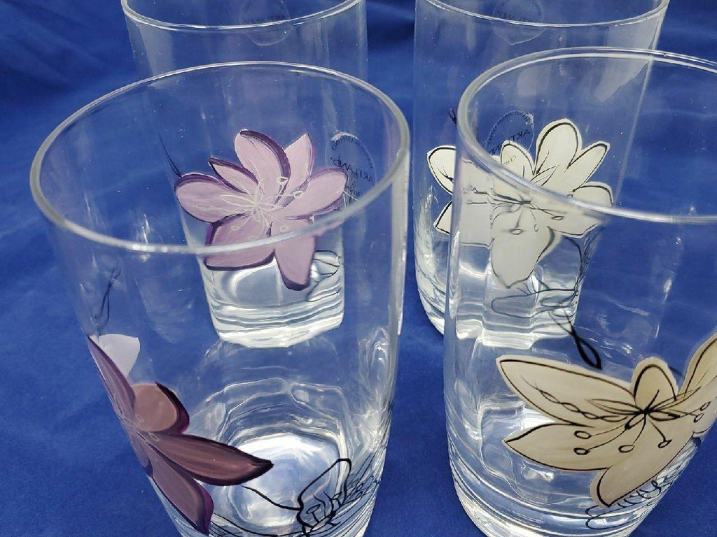 Set of 4 hand painted highball glasses