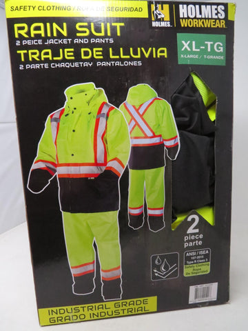 Holmes Workwear HI-VIS Rain Suite 2 Piece Jacket & Pants XL-TG Yellow Reflective B2C1