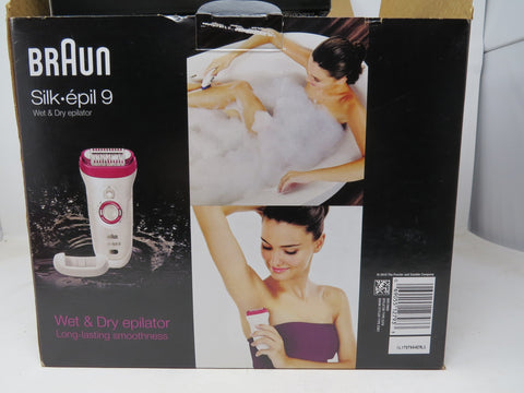 Braun Silk-épil 9 Wet and Dry Epilator With 2 Caps used