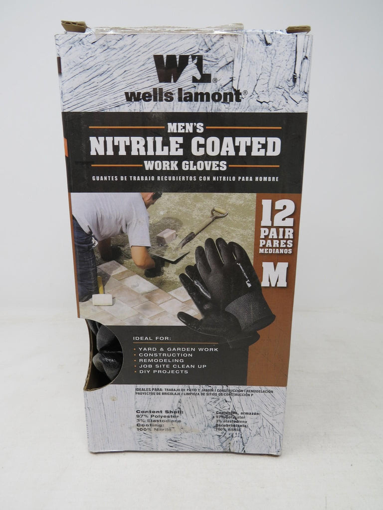 Wells Lamont Nitrile Coated Work Gloves Medium, 8 Gloves, 4 Pairs, AP16