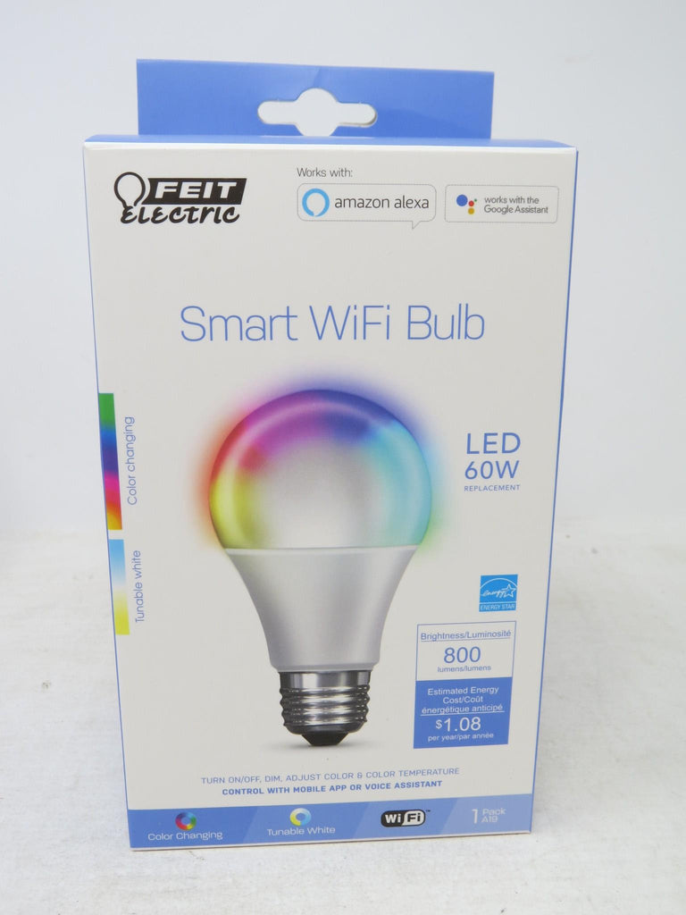 FEIT Electric Smart WiFi LED Color Changing & Dimmable A19 60W Bulb (1 BULB) AP17B