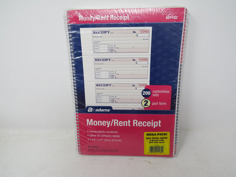 Adams Money/Rent Receipt Mega Pack 800 Carbonless Sets AP5