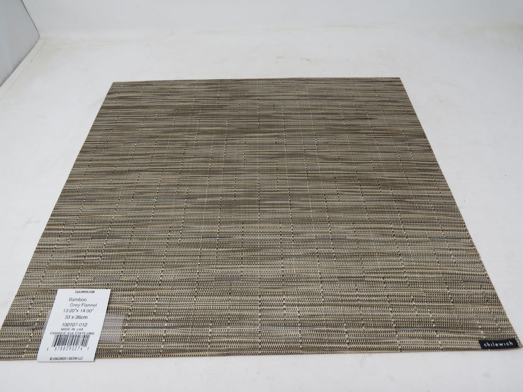 "Chilewich Bamboo Placemat Grey Flannel Rectangle 14"" x 13"" Made in USA AP30"