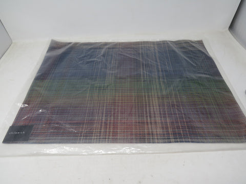"Chilewich Plaid Table Mat - Multicolor 14"" x 19"" New Made in the USA AP30"