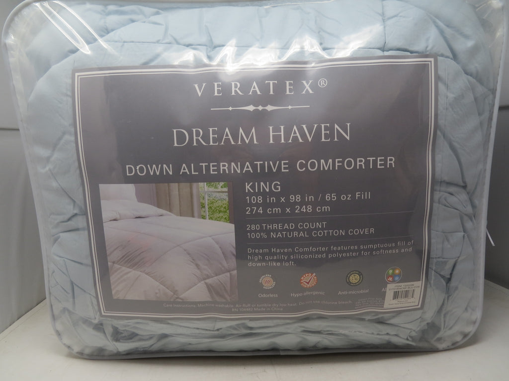 Veratex Dream Haven Down Alternative Comforter King Size Blue B2ES3