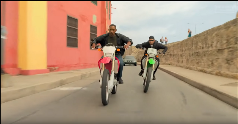 Gemini Man 2019 Will Smith Bike Fight on Honda off-road dirt bike