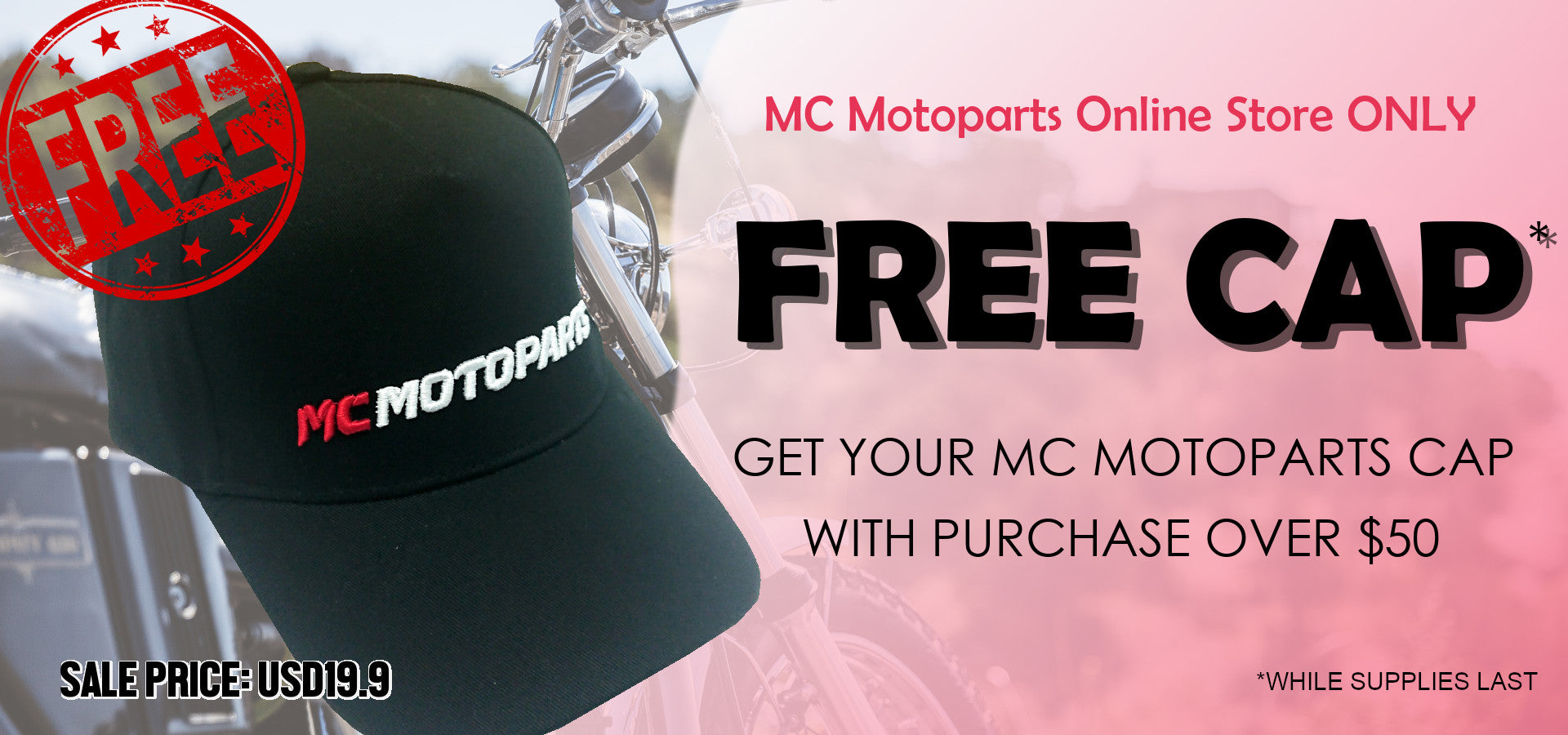 Free MC Motoparts black baseball cap