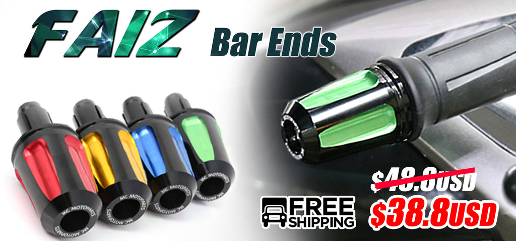 MC Motoparts FAIZ cnc bar ends sale banner