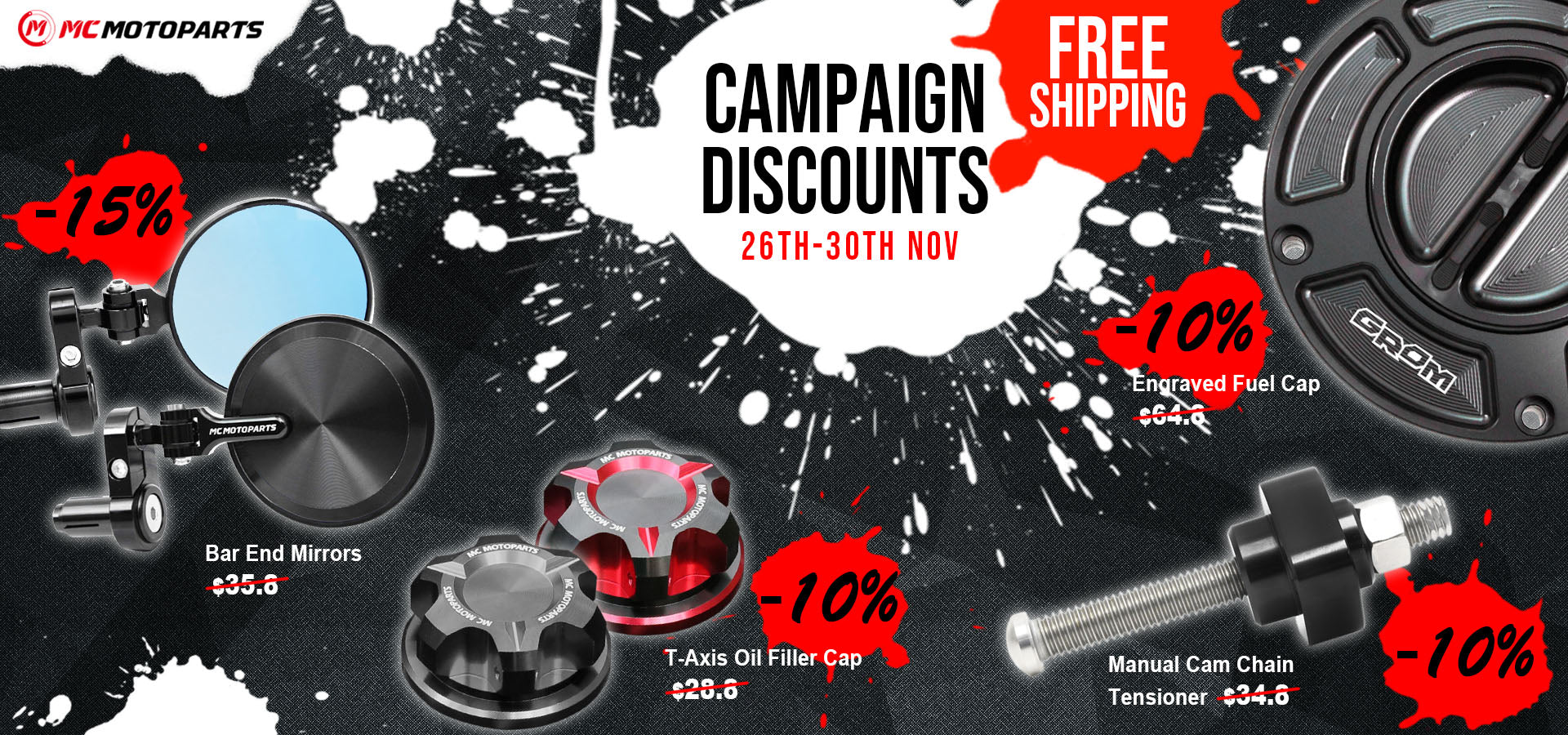 mc motoparts black friday & cyber monday campaign discount 2020