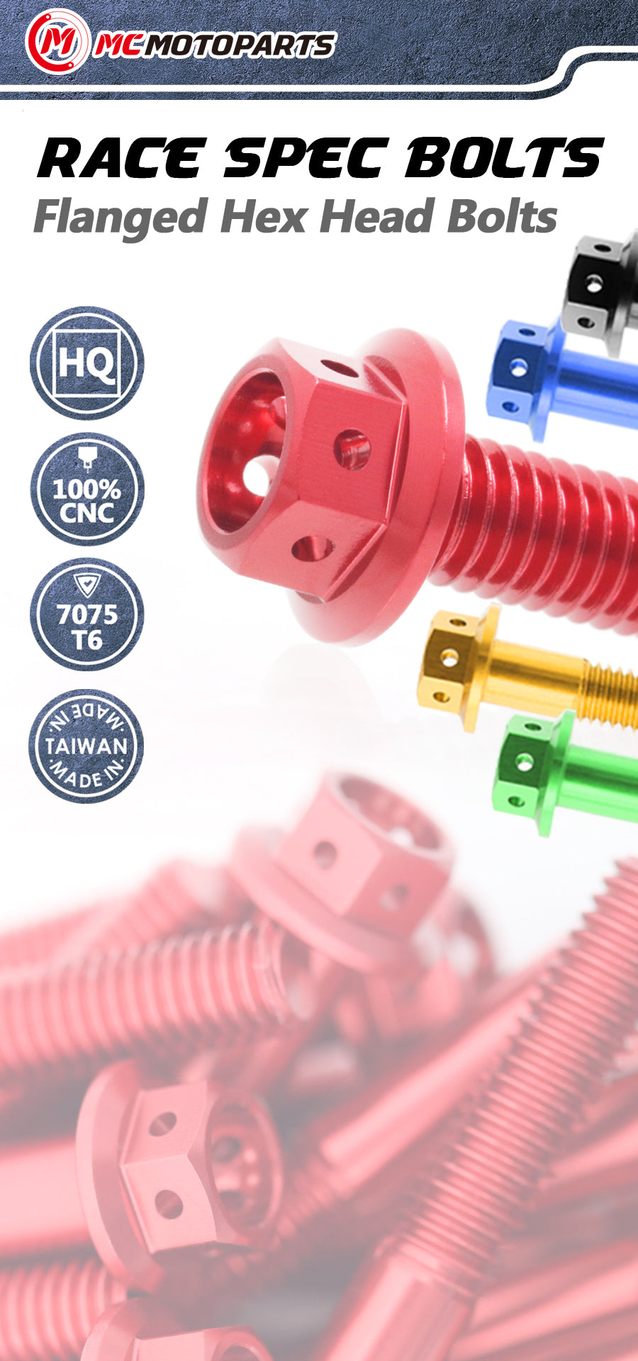 MC Motoparts CNC Race Spec Bolts for motorcycle customization and decorations