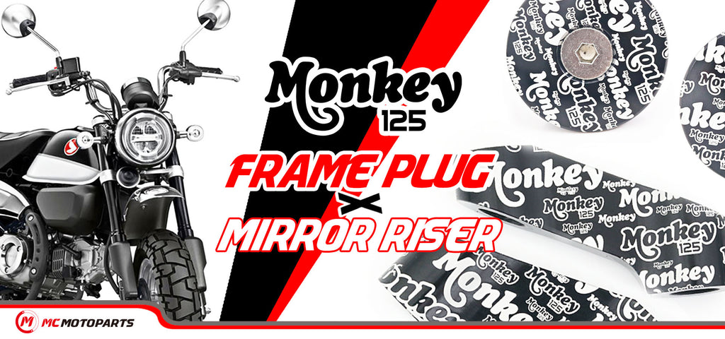 MC Motoparts designed Honda Monkey 125 logo graffiti engraved frame plugs and mirror extender set