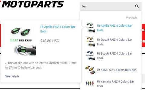 MC Motoparts Online Store - Smart Search Engine