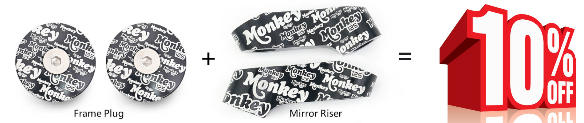 Honda Monkey 125 Graffiti logo engraved frame plugs and mirror extender set
