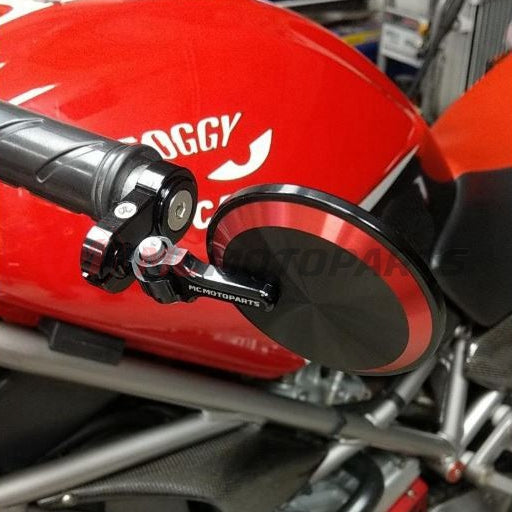 Fit Ducati Panigale Reborn CNC Bar End Mirrors Round Folding Set - MC Motoparts