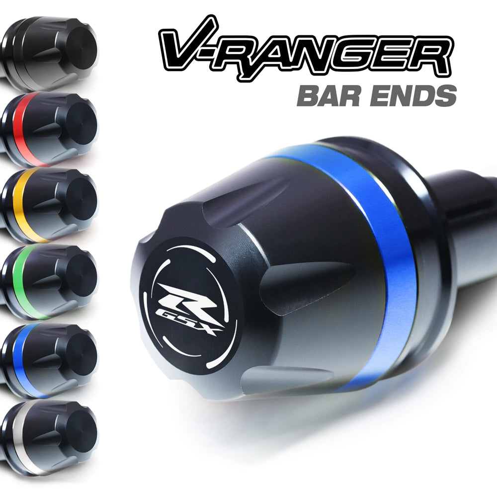 Fit Suzuki GSX-R 750 1100 600 Engraved V-Ranger Bar Ends - MC Motoparts