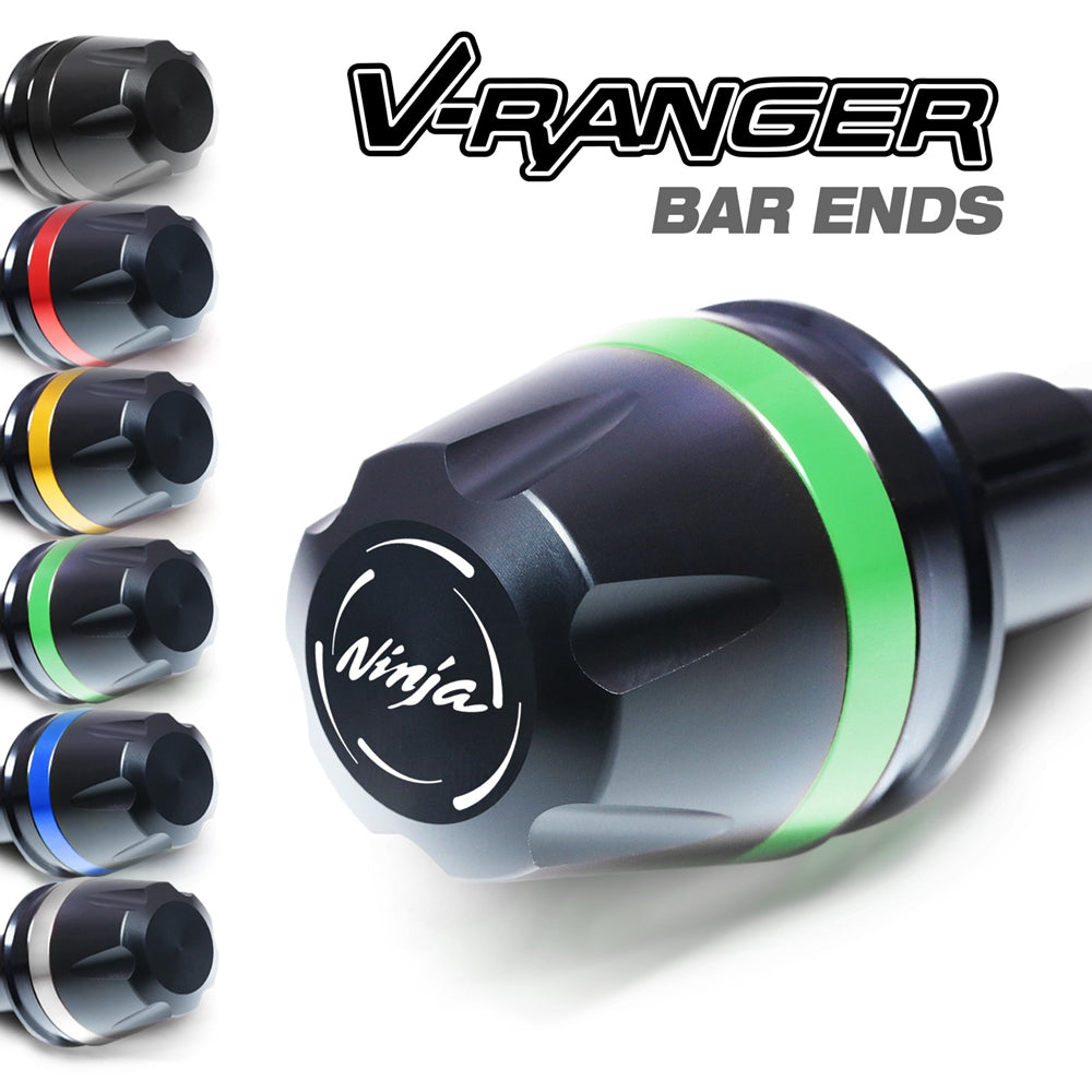 Fit Kawasaki ZX-6R ZX10R Ninja Engraved V-Ranger Bar Ends - MC Motoparts