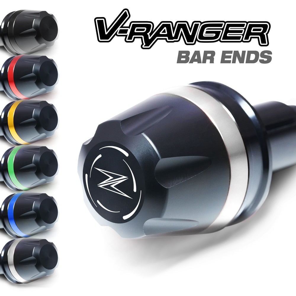 Fit Kawasaki Z1000 Z800 Z900RS Engraved V-Ranger Bar Ends - MC Motoparts