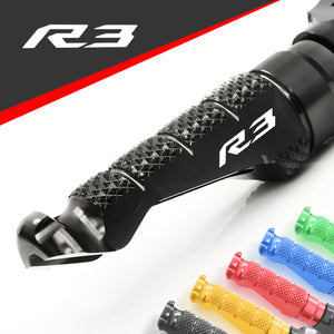 Fit Yamaha YZF R3 15-20 Engraved Logo R-FIGHT Front Foot Pegs - MC Motoparts