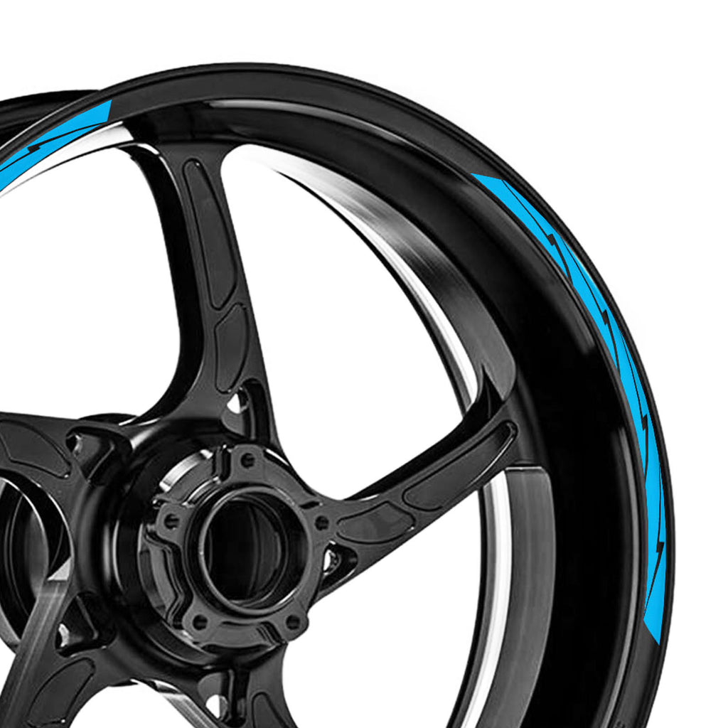 12 pcs Black Lightning 17'' Wheel Front & Rear Rim Skin Sticker Set - MC Motoparts