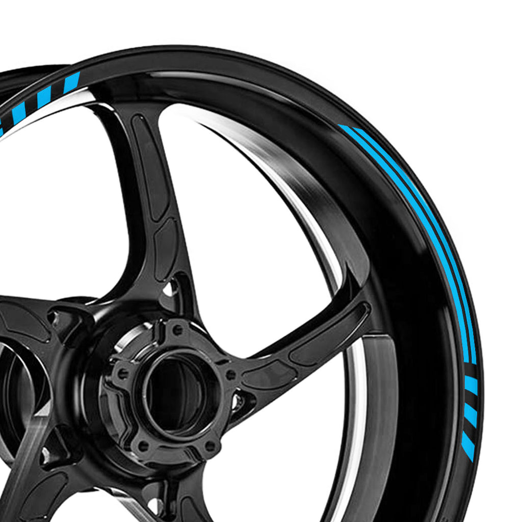 12 pcs Black Line 17'' Wheel Front & Rear Rim Skin Sticker Set - MC Motoparts