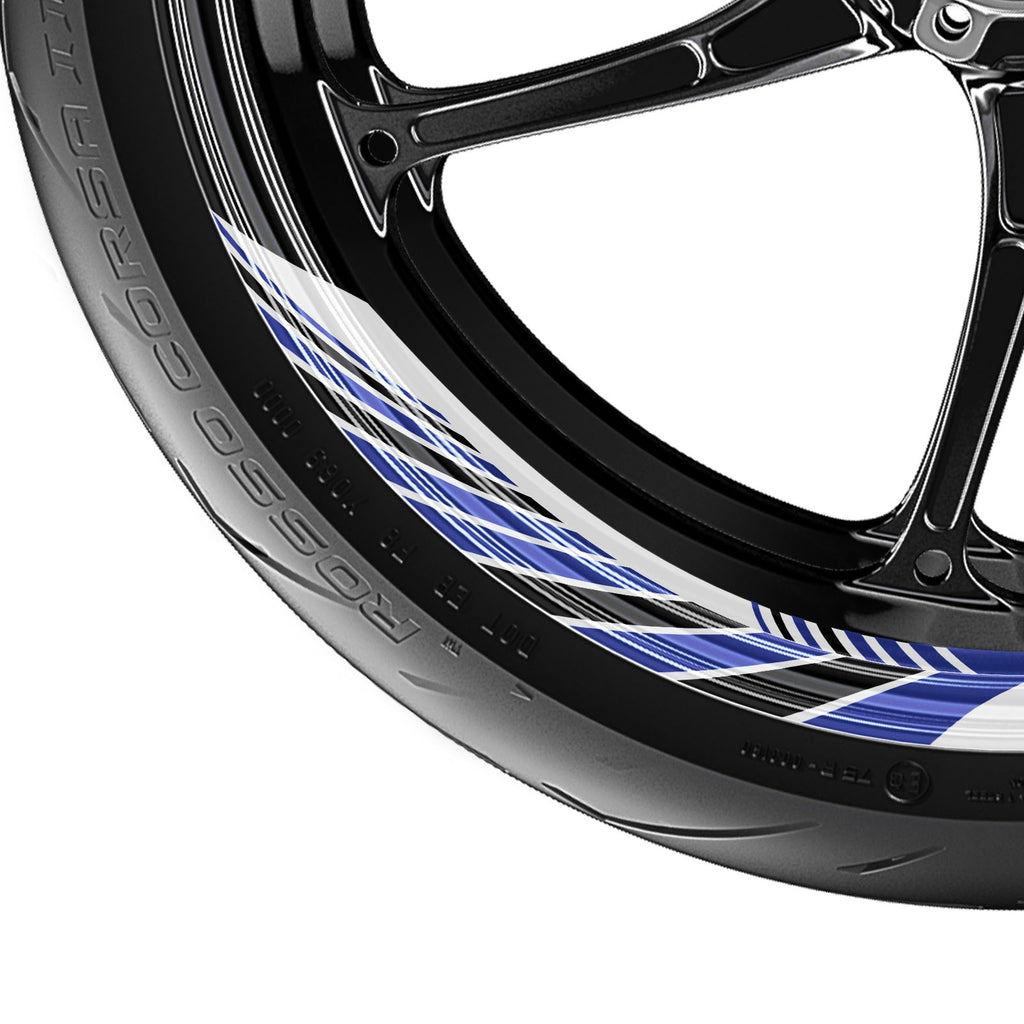 Awning Stripe Pattern 17'' Wheel Front & Rear Removable Rim Sticker Set - MC Motoparts