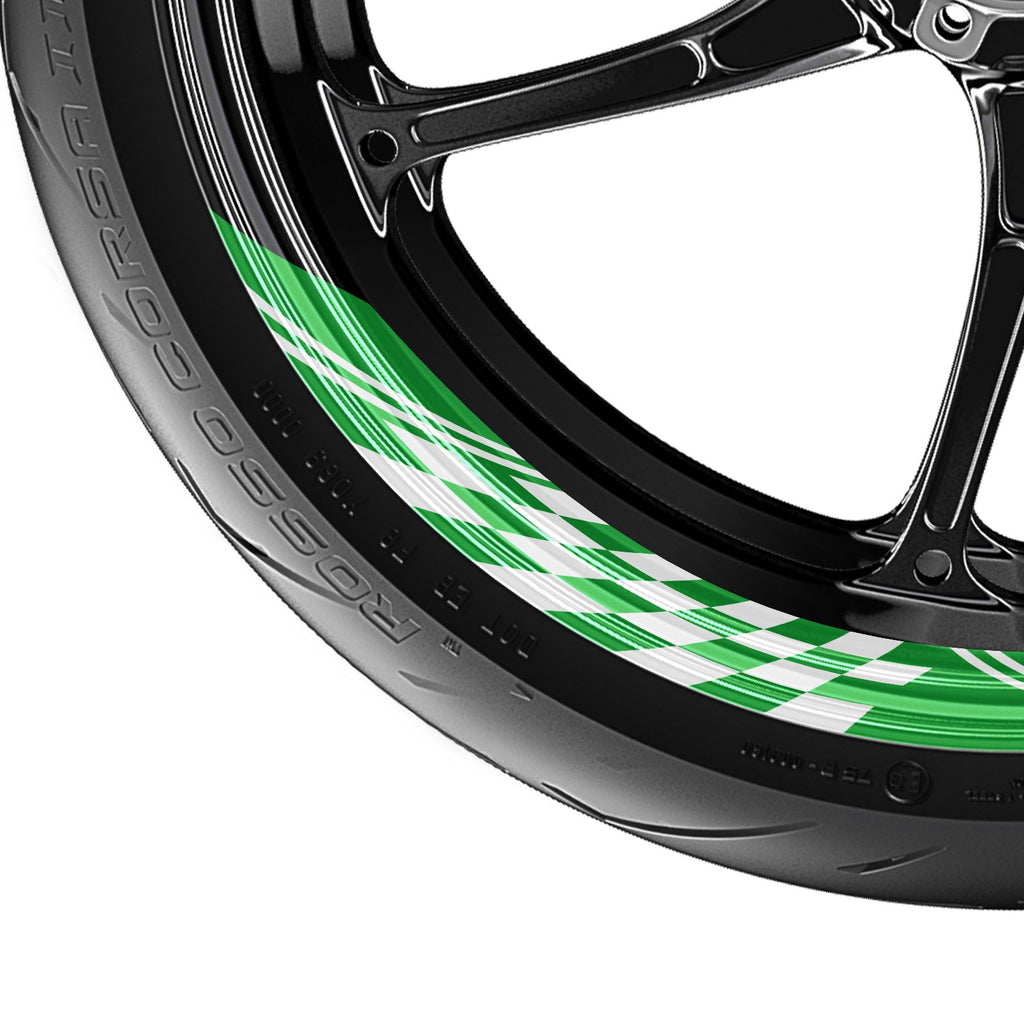 Check Pattern 17'' Wheel Front & Rear Removable Rim Sticker Set - MC Motoparts