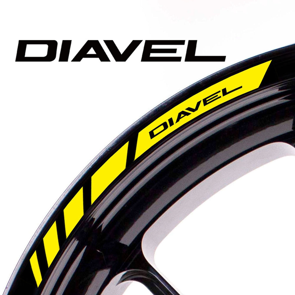 Fit Ducati DIAVEL Logo Strips Wheel Rim Edge Sticker - MC Motoparts