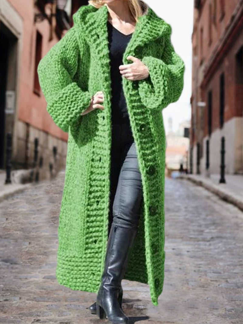 Women Casual Knitted Button Coat Cotton-Blend Casual Hoodie Outerwear