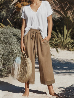 Camel Cotton-Blend Pockets Solid Pants