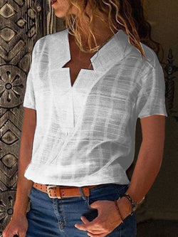Casual Short Sleeve Solid Paneled Blouse & Shirts
