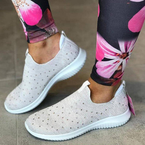 Breathable Mesh Cloth Sneakers Flat Slip On Sneakers