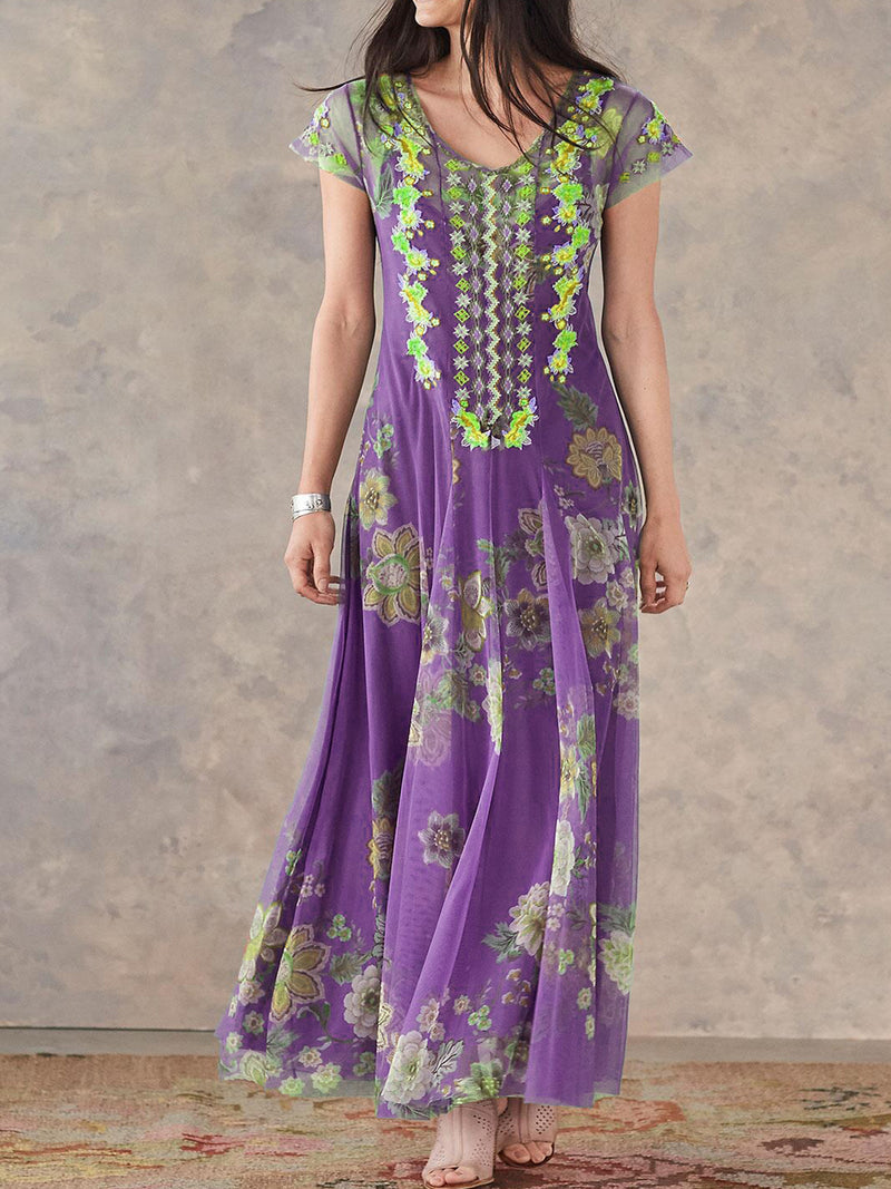 Women Blue Embroidered Sweet Dresses