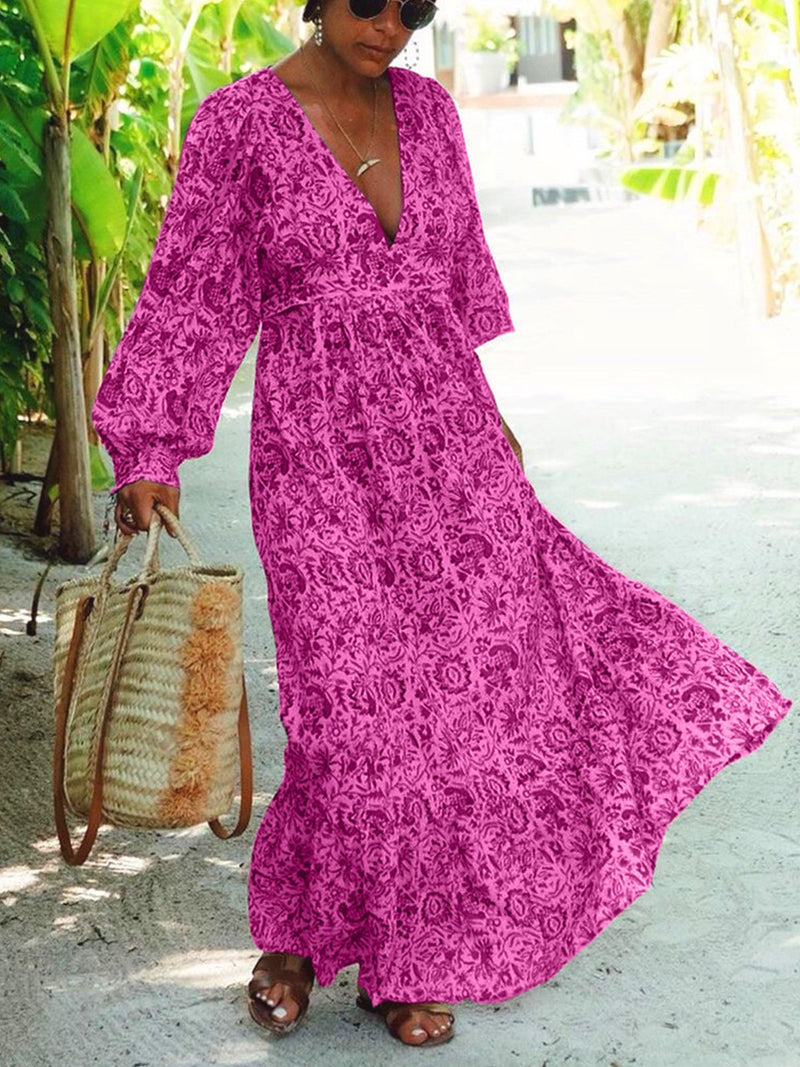 Plus Size Women Long Sleeve V-Neck Vintage Floral Casual Maxi Dresses