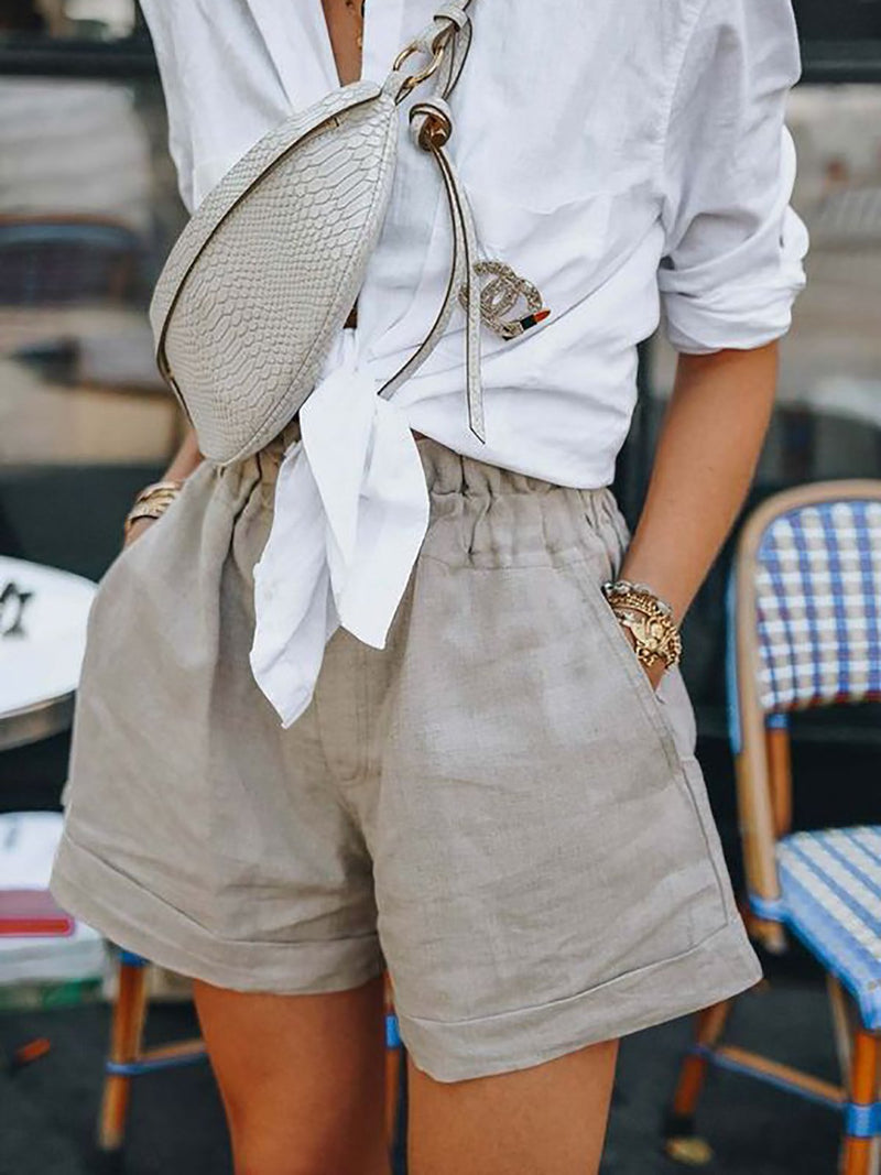 Elastic Waist Pockets Casual Shorts Pants